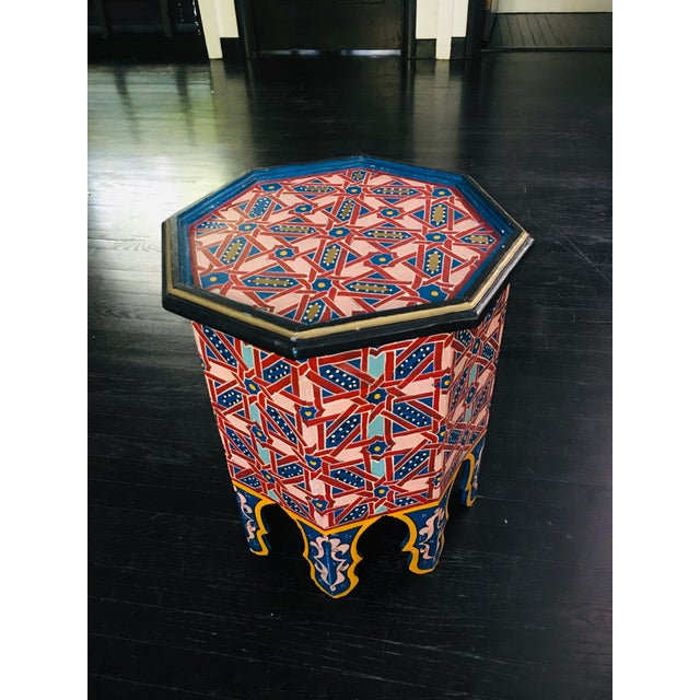 Blue Moroccan Hexagonal Hand Painted Wooden Side Table For Sale - Image 8 of 8