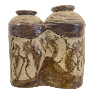 Mid-Century Handmade Two Piece Pottery Urn For Sale