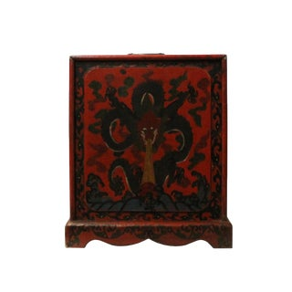 Chinese Distressed Red Black Dragon Graphic Trunk Box Chest For Sale