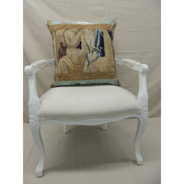 Metal Antique Aubusson Tapestry Square Decorative Pillow For Sale - Image 7 of 9