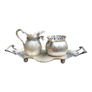 Wmf- Wutembergtsche Metallworen Fabrik Workshop Sugar, Creamer and Tray - 3 Pieces For Sale