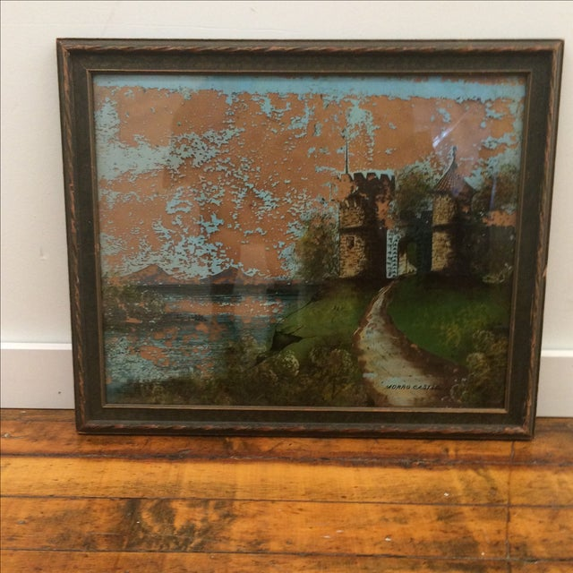 Great vintage reverse painting on glass. Highly distressed adds to the charm. View detail shots for condition .taped and...