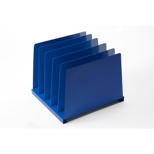 Mid-Century Modern 1970s Desktop File Holder, 5 Slot, Refinished in Blue For Sale - Image 3 of 7
