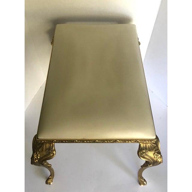 Brass Vintage Regency Brass Vanity Stool Made in Italy For Sale - Image 8 of 11