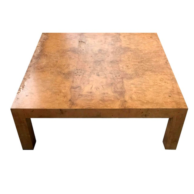 Milo Baughman 1970s Mid-Century Modern Burl Wood Square Coffee Table For Sale - Image 4 of 13