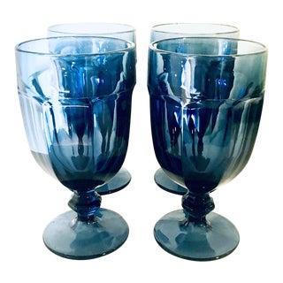 Vintage Faceted Cornflower Blue Goblet Set - Set of 4 For Sale