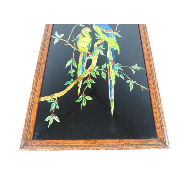 Late 19th Century Antique Americana Folk Art Tinsel Painting of Tropical Birds For Sale - Image 5 of 9