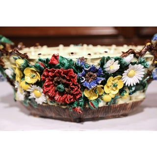 19th Century French Hand-Painted Oval Barbotine Jardinière With Flowers Preview