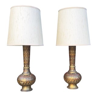 Mid-Century Brass Moroccan Lamps - A Pair