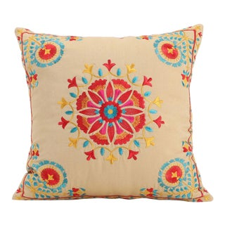Bohemian Cotton Mandala Embroidered Tan Red Pillow - a Pair For Sale
