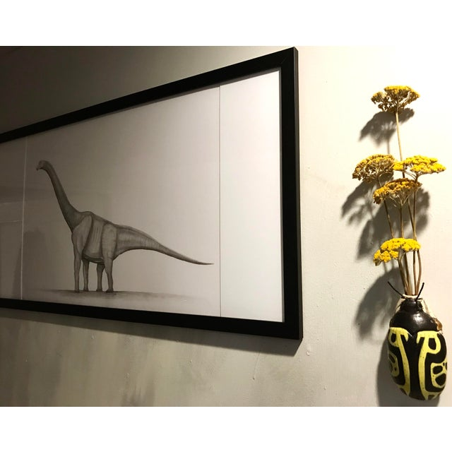 Drawing/Sketching Materials Framed Original Graphite Dinosaur Drawing For Sale - Image 7 of 10