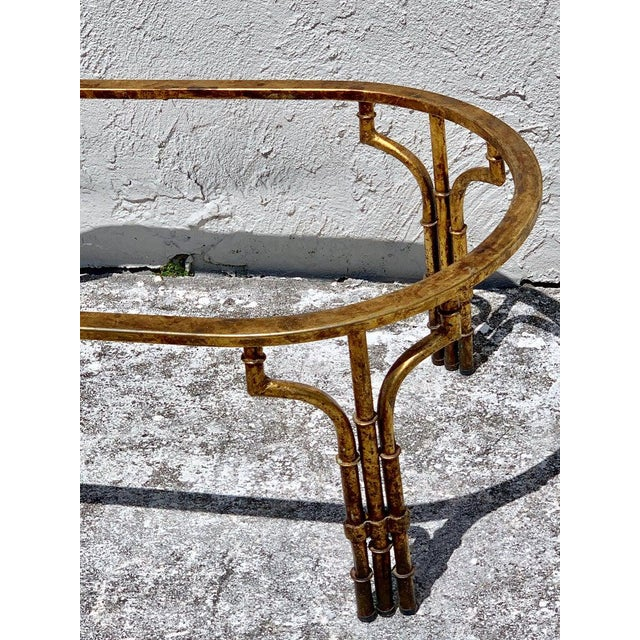 Midcentury Italian Gilt Metal Faux- Bamboo Glass Top Coffee Table For Sale In West Palm - Image 6 of 10