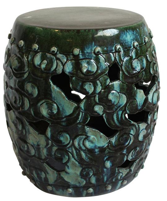 Green Ceramic Garden Stool For Sale