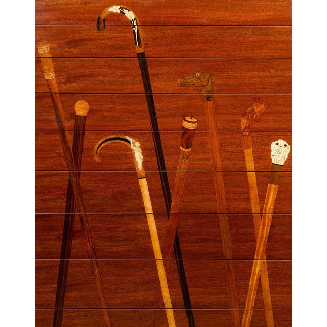 Traditional Inlaid Mahogany Cane Cabinet For Sale - Image 3 of 6