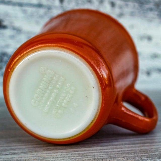 Mid-Century Modern Vintage Corningware Rust Orange Milk Glass Cups - Set of 4 For Sale - Image 3 of 9
