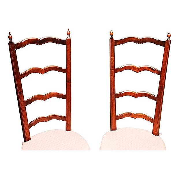 """A pair of high back, low-seated French Country walnut slipper chairs with rushed seats. Seats, 15""""H. Circa 1880s. Add a..."""