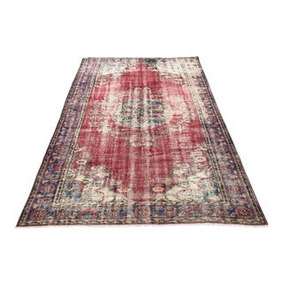 1960s Abstract Expressionism Distressed Turksih Oushak Floor Rug