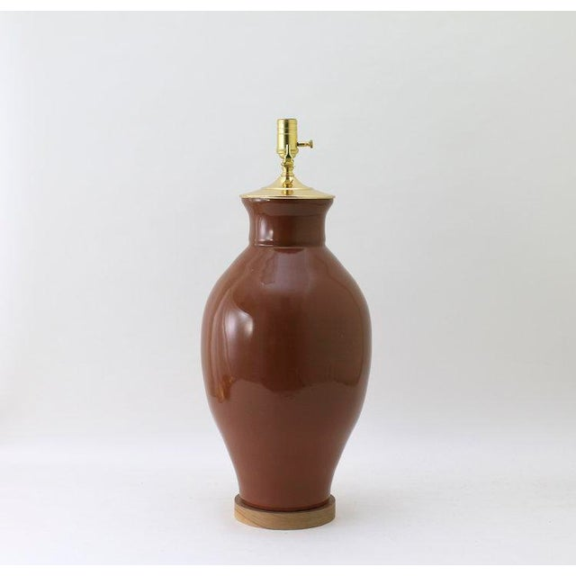 """Not Yet Made - Made To Order Paul Schneider Ceramic """"Matagorda"""" Lamp in Glossy Cocoa Glaze For Sale - Image 5 of 6"""