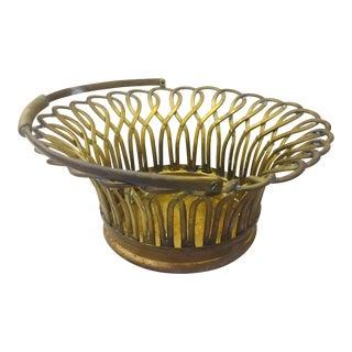 Vintage Brass Basket For Sale