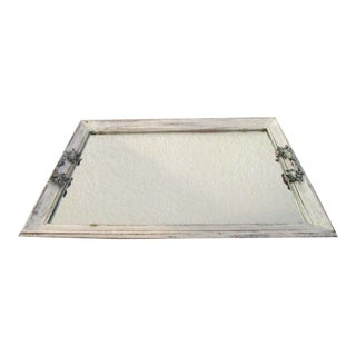 Vintage French Country Distressed Mirrored Tray For Sale