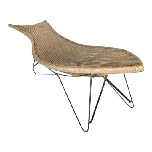 Mid-Century American Wicker Chaise Longue For Sale