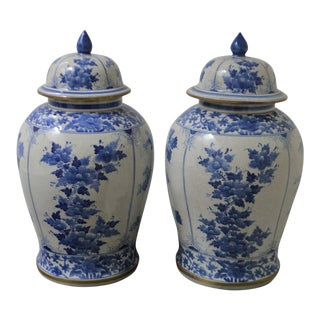 1900 Large Chinese Porcelain Four Floral Facades, Bronze Trim Ginger Jars - a Pair For Sale