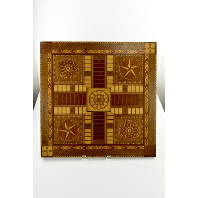 Antique 19th C. Inlaid Wooden Game Board - Image 9 of 9