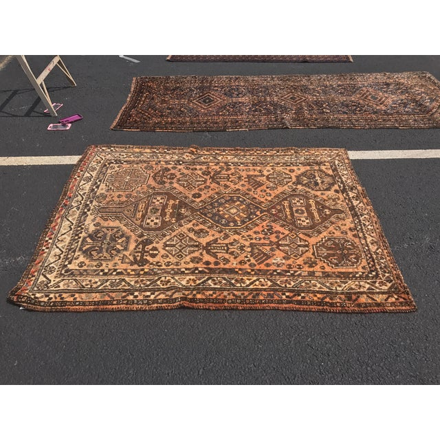 """Vintage Persian Shiraz Area 70-Year-Old Rug - 4'6"""" x 6'3"""" - Image 3 of 10"""