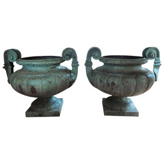 Antique French Grecian Style Iron Urns - A Pair
