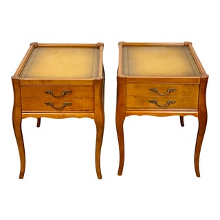 Vintage Leather Top Mersman Furniture Provincial Side Tables - a Pair For Sale
