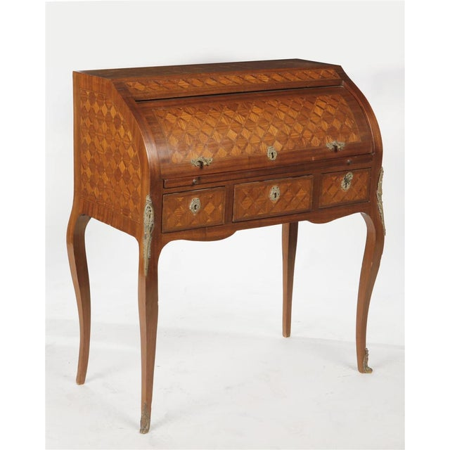 Early 20th Century Early 20th Century Louis XV/XVI Transitional Style Parquetry Inlaid Walnut Cylinder Desk For Sale - Image 5 of 5