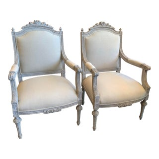19th Century French Louis Carved & Gray Refinished Chairs - a Pair For Sale