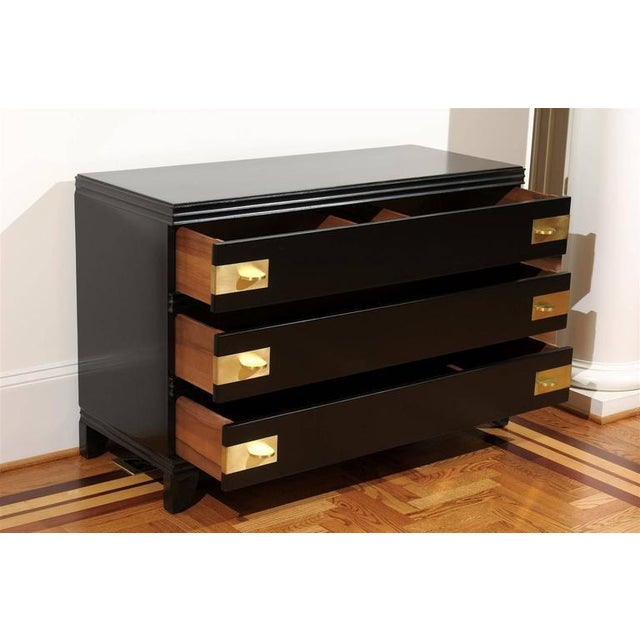 Gorgeous Restored Three-Drawer Chest by Widdicomb in Black Lacquer For Sale In Atlanta - Image 6 of 11