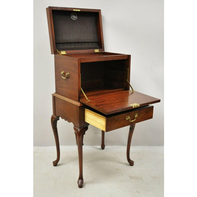 Mid 20th Century Hickory Chair Co. Mahogany & Burlwood Queen Anne Silverware Silver Chest For Sale - Image 5 of 13