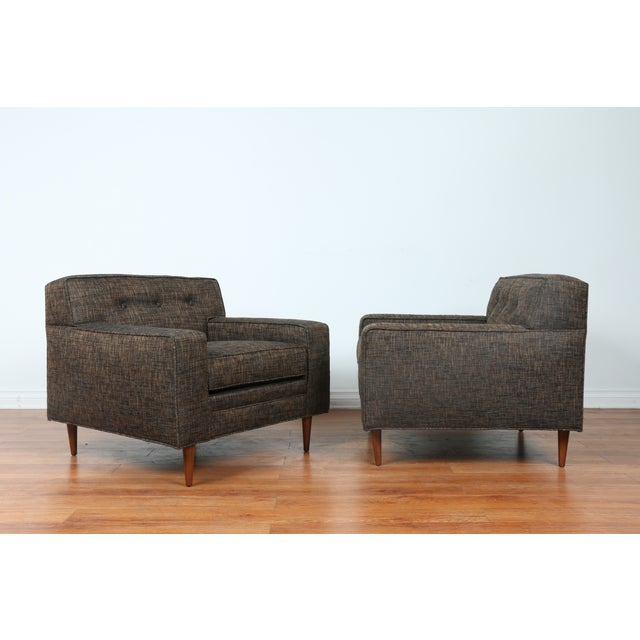 Gray Cubed Lounge Chairs- A Pair - Image 10 of 10