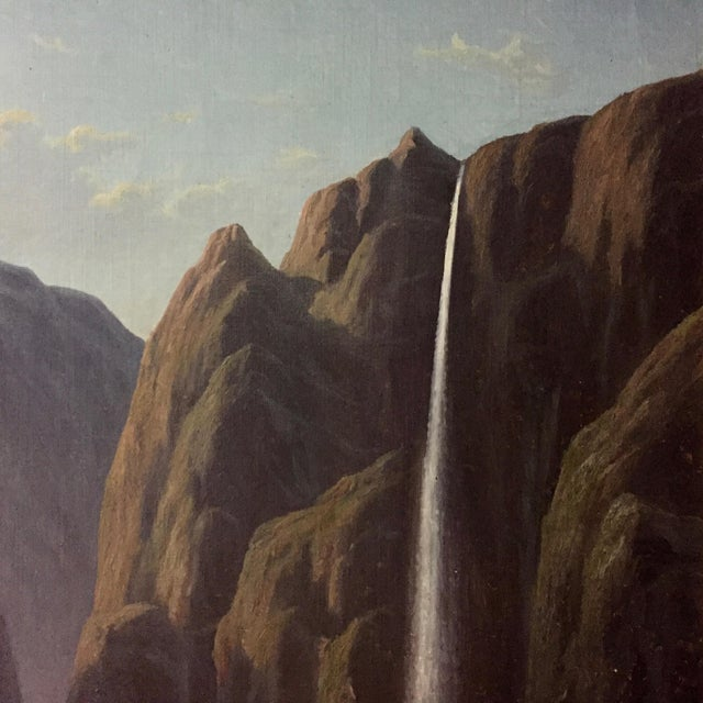 C1873 Danish Painting of a Waterfall and Steamer For Sale - Image 4 of 9