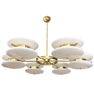 Contemporary Italian Minimalist Brass and White Murano Glass Globe Chandelier For Sale