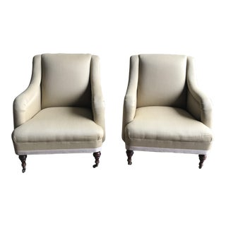 Wingback Cream Lounge Chairs - A Pair
