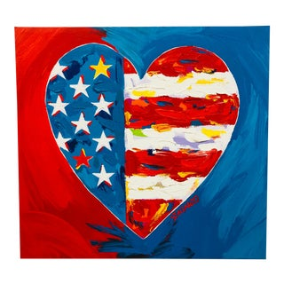 Original Vintage Pop Art Heart-Shaped American Flag Painting by Stango For Sale