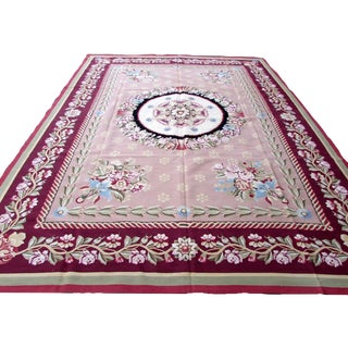 1980s, Handmade Vintage French Aubusson Rug 9.4' X 12.3' For Sale