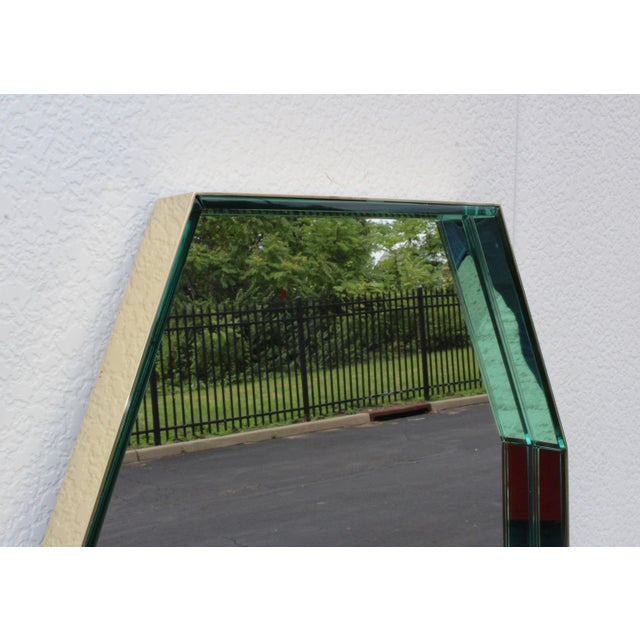 Mid 20th Century Fontana Arte Green Glass and Brass Octagonal Mirror For Sale - Image 5 of 11