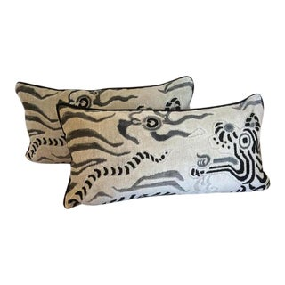 Clarence House Pillow With Tibet Dragon Design - A Pair For Sale