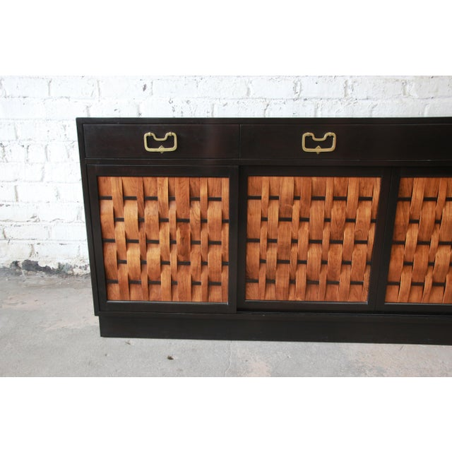 Edward Wormley for Dunbar Woven Front Sideboard Credenza For Sale - Image 9 of 13