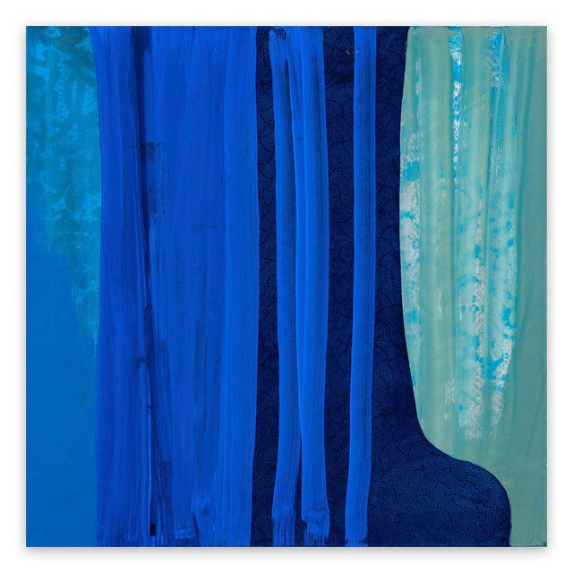 "Marcy Rosenblat Marcy Rosenblat ""Blue Shift"" Painting For Sale - Image 4 of 4"
