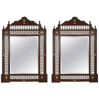 Middle Eastern Mirrors Inlaid With Mother-Of-Pearl - a Pair For Sale