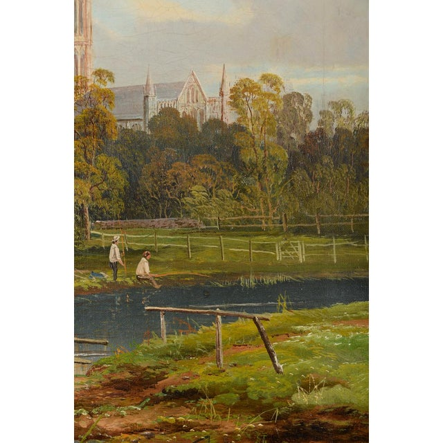 Oil Paint Antique German Gothic Town Oil Painting For Sale - Image 7 of 10