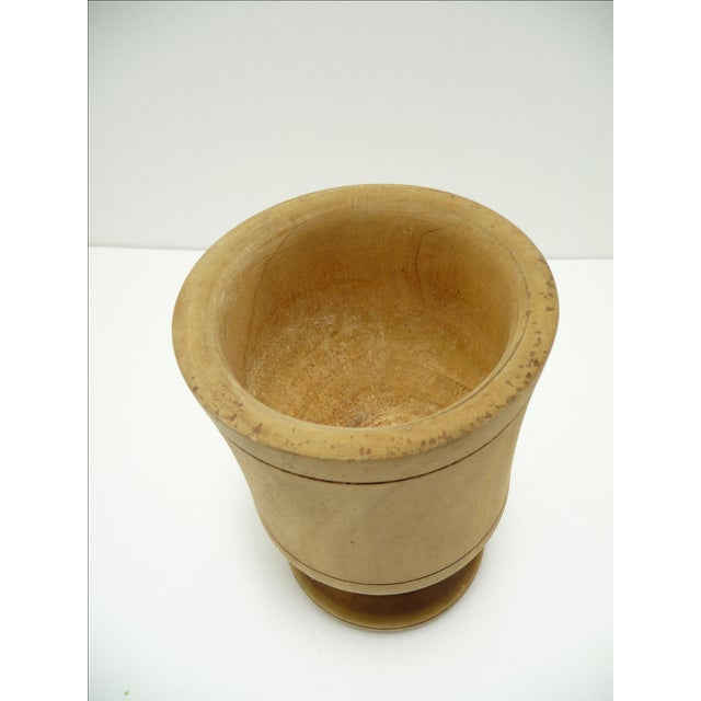 Antique European Turned Wood Mortar & Pestle For Sale - Image 4 of 7