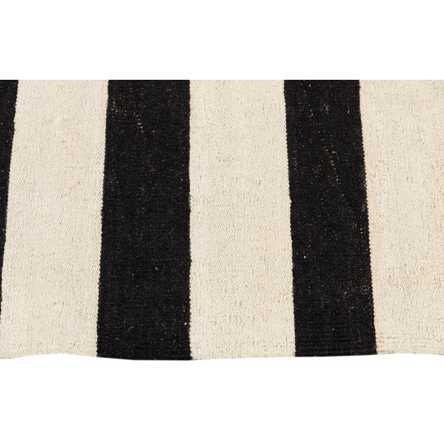 Contemporary Black and White Striped Kilim Flat-Weave Wool Rug For Sale In New York - Image 6 of 11