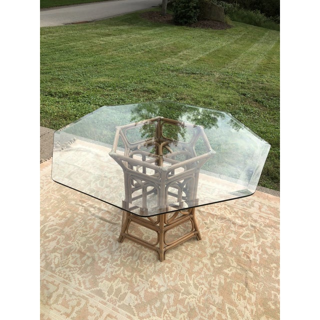 Boho Chic Boho McGuire Style Bent Rattan Table + Octagon Shaped, Beveled Glass Top For Sale - Image 3 of 11
