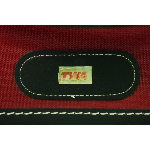 1960s Traditional T Anthony Suitcase w/ TWA Label For Sale - Image 9 of 11